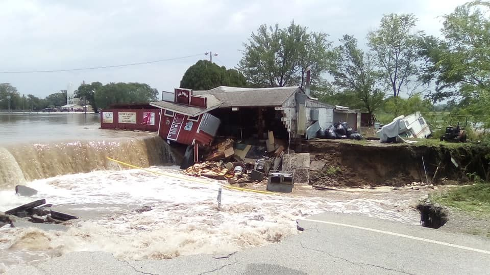 Lake street has collapsed due to flooding. (Courtesy: Ponca City News)