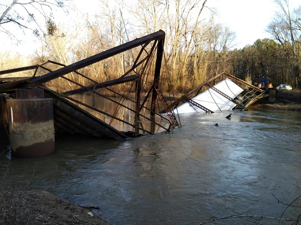 Emergency management officials say the truck, which weighed approximately 76,000 lbs., crossed the bridge on Dale Bend Road that has a weight limit of 6 tons. (Photo courtesy: Yell County Office of Emergency Management)