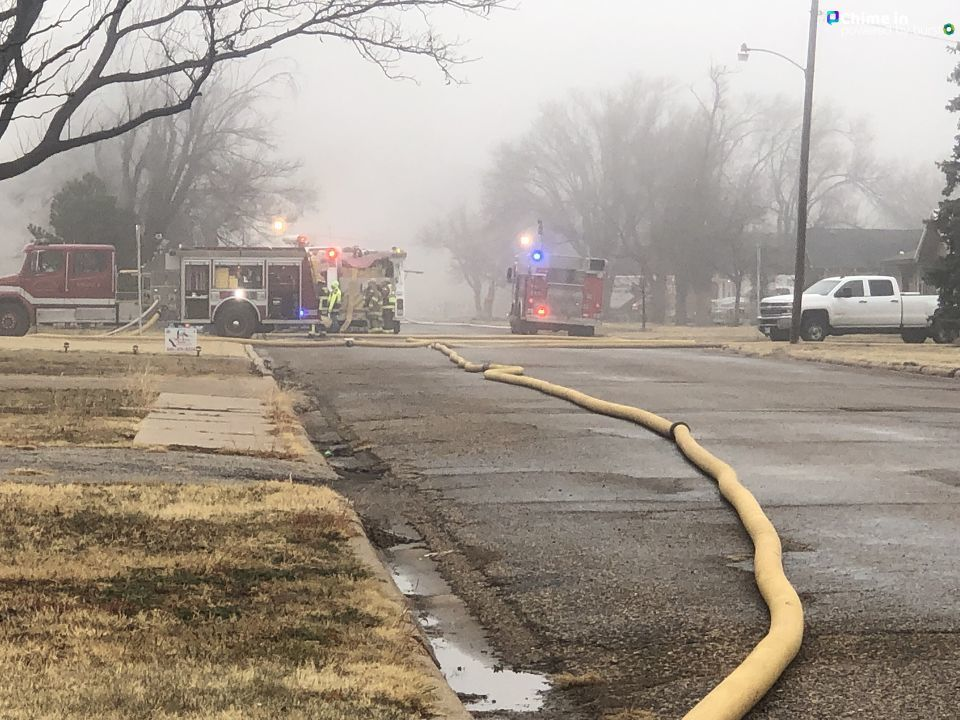 <p>Multiple fire crews are battling a structure fire at a home in Panhandle in the 900 block of Charles. (ABC 7 Amarillo-Nataziah Gipson)</p>