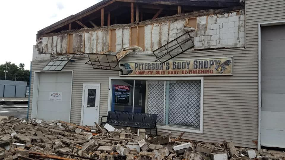 Damage to a business in New Lothrop. (Picture from Village of New Lothrop)<p></p>