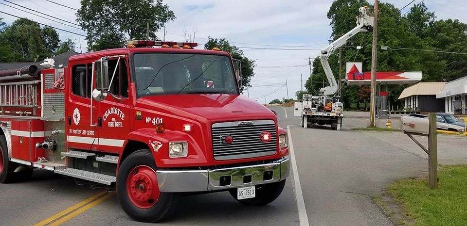 <p>A squirrel caused multiple power lines to fall, leading to a power outage in the Charlotte area of Dickson County (Charlotte Fire and Rescue)</p>