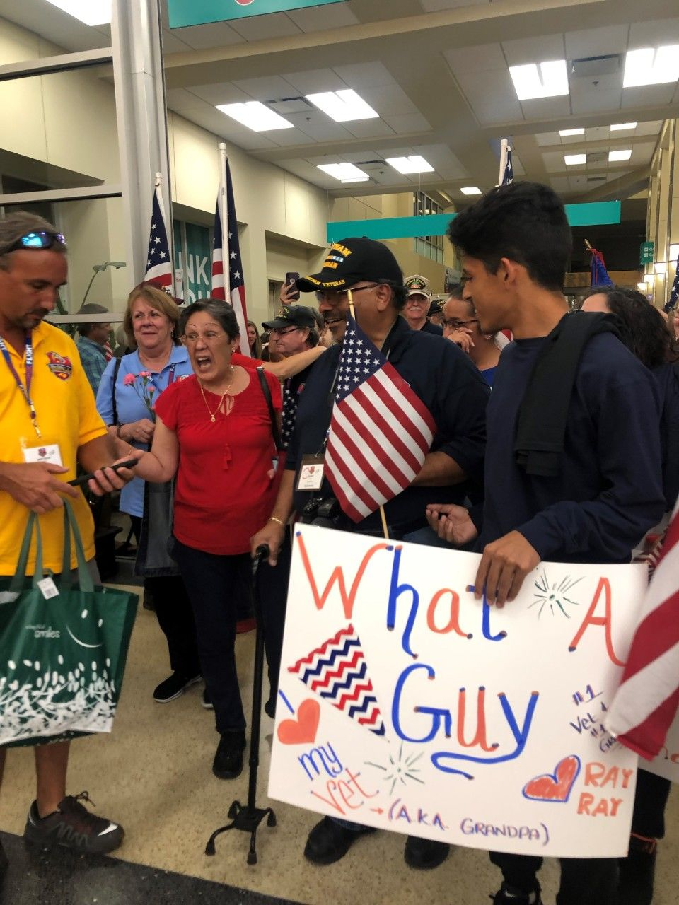 We're told there was a hero's welcome for returning vets at the Asheville Regional Airport.{ }Photo credit: Hannah Watts