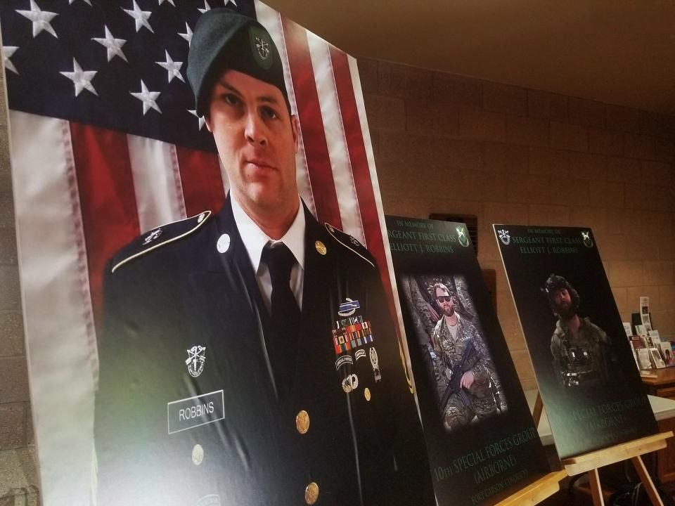 The small Utah community of North Ogden laid to rest another fallen soldier Thursday, commemorating the life and service of Sgt. 1st Class Elliott J. Robbins. He was 31. (Photo: Larry D. Curtis / KUTV)