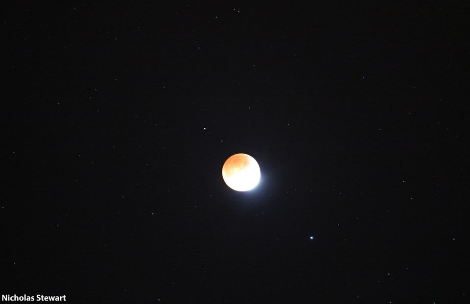 A partial lunar eclipse seen over Macomb, Illinois in April 2015.{ }(Photo: Nick Stewart, KGAN)