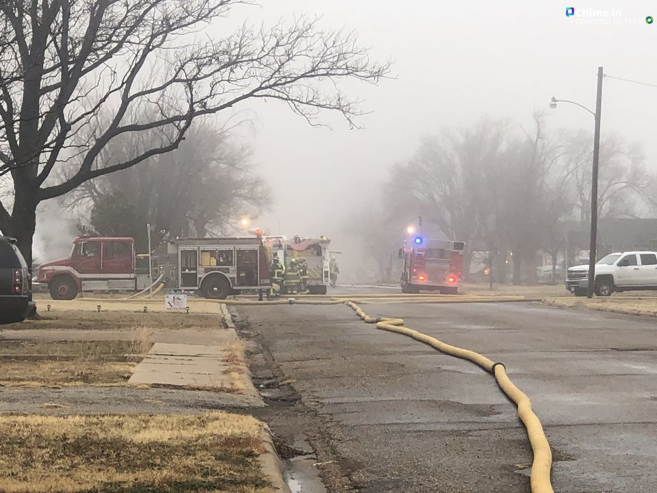 Multiple fire crews are battling a structure fire at a home in Panhandle in the 900 block of Charles. (ABC 7 Amarillo-Nataziah Gipson)