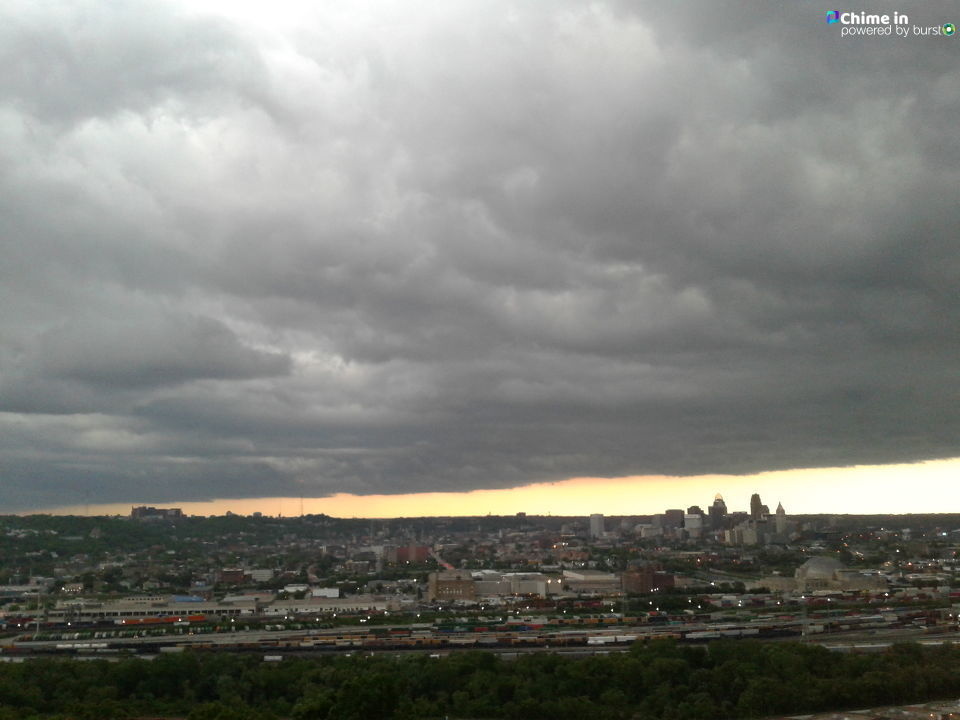 Spring storm Cincy today 8:30 am looking towards downtown and Clifton. From east price hill from{ }Robbin Massey