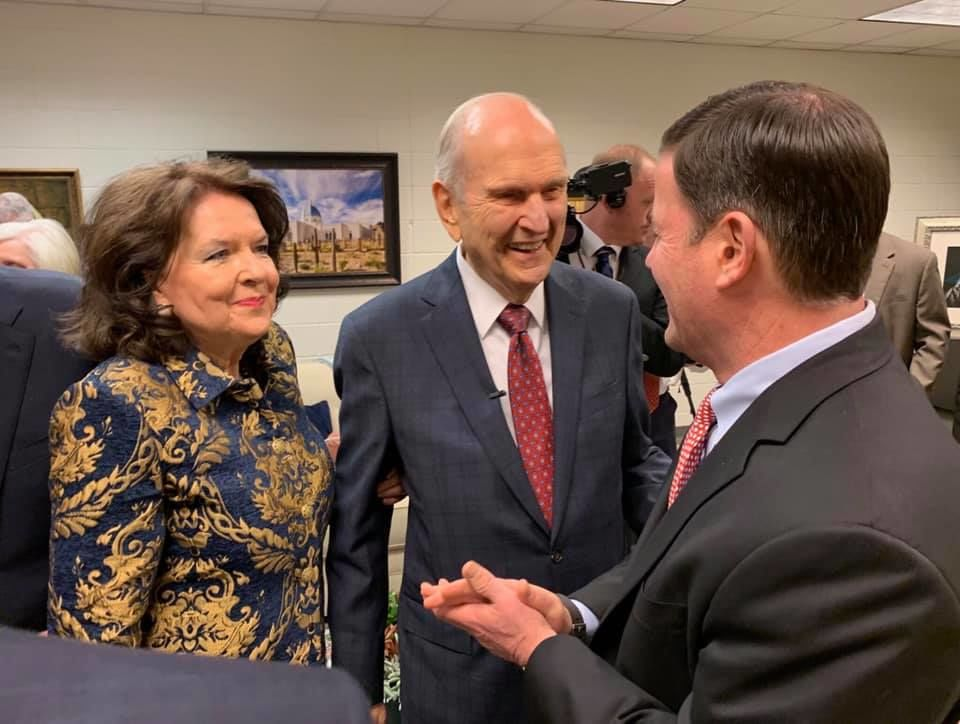 Arizona Gov. Doug Ducey shakes hands with President Russell M. Nelson of The Church of Jesus Christ of Latter-day Saints in February, 2019. (Photo: Doug Ducey via Facebook)