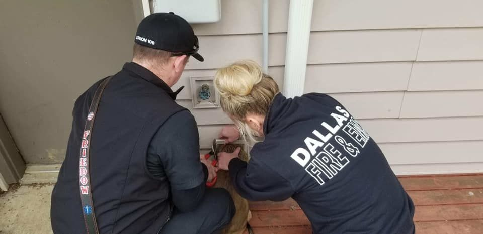 Puppy stuck in Dallas, Oregon dryer vent - Photo from Dallas Fire and EMS
