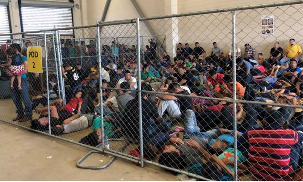 <p>Photo shows overcrowding of families observed by OIG on June 10, 2019, at Border Patrol's McAllen, TX, Station. (Source: DHS OIG)</p>