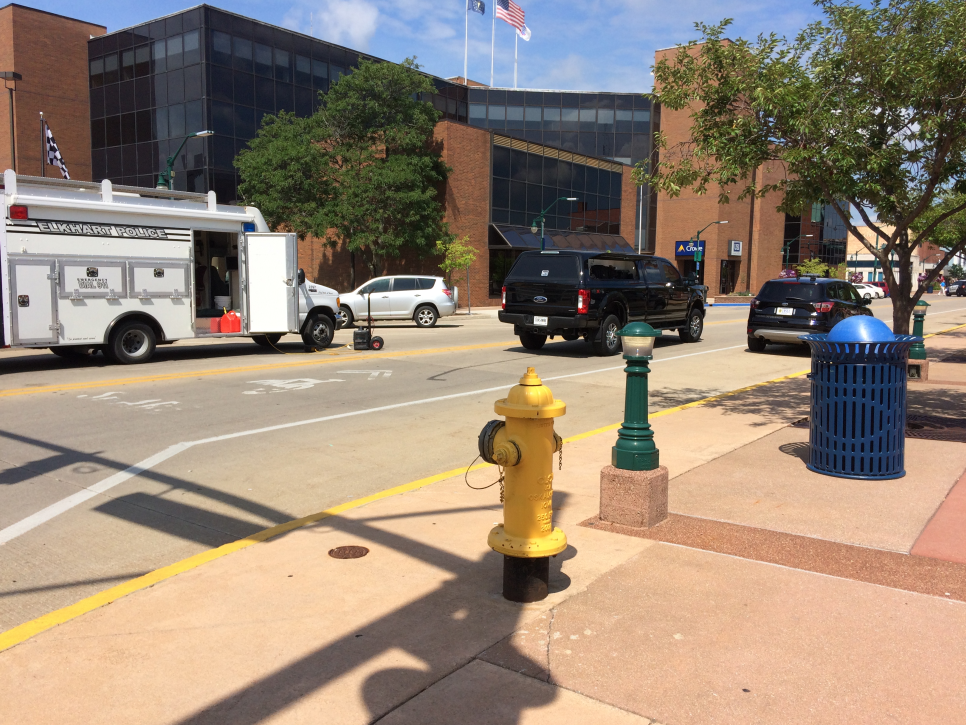 Police in downtown Elkhart are investigating a suspicious package. // WSBT 22