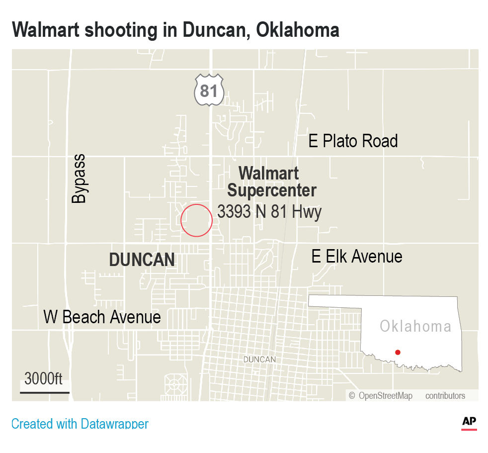 Police have confirmed that three people have been shot and killed at the Walmart in Duncan.;