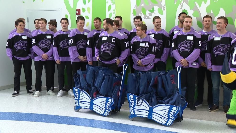 <p>After practice Thursday, the Columbus Blue Jackets stopped by Nationwide Children's Hospital to visit patients. (WSYX/WTTE){&nbsp;}</p>
