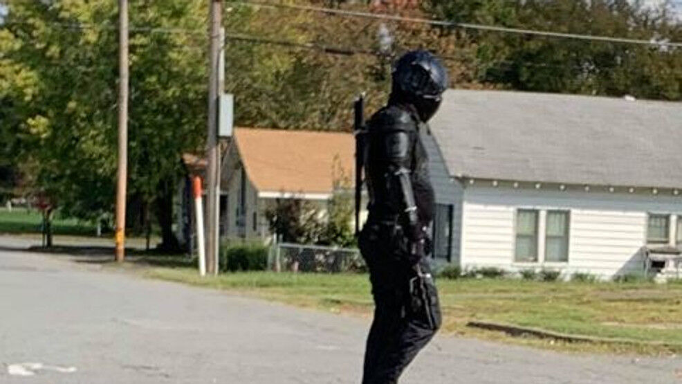 A man with ninja-style clothing and weapons walking in North Little Rock. Police said the man has been roaming the city for a few months and has a superhero-esque name for himself. Police said he does it for fun and is not a threat. (Photo courtesy of Dean Taylor)