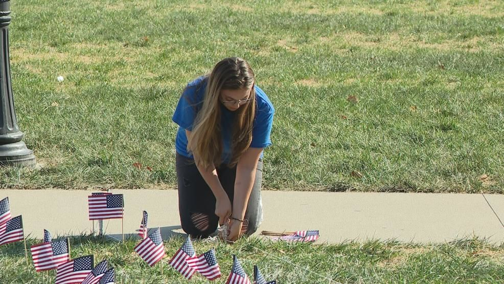 Students, including a junior who lost her mom in the World Trade Center attacks, planted flags on Ohio State's campus Wednesday Sept. 11, 2019 in honor of each of the victims. (WSYX/WTTE)