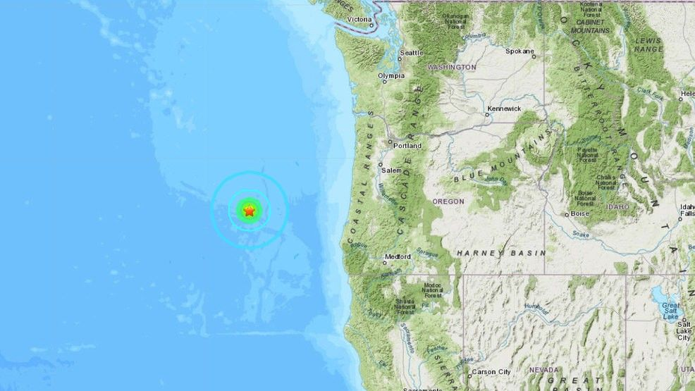 Earthquake recorded off Oregon coast on Oct. 21, 2019 - USGS map