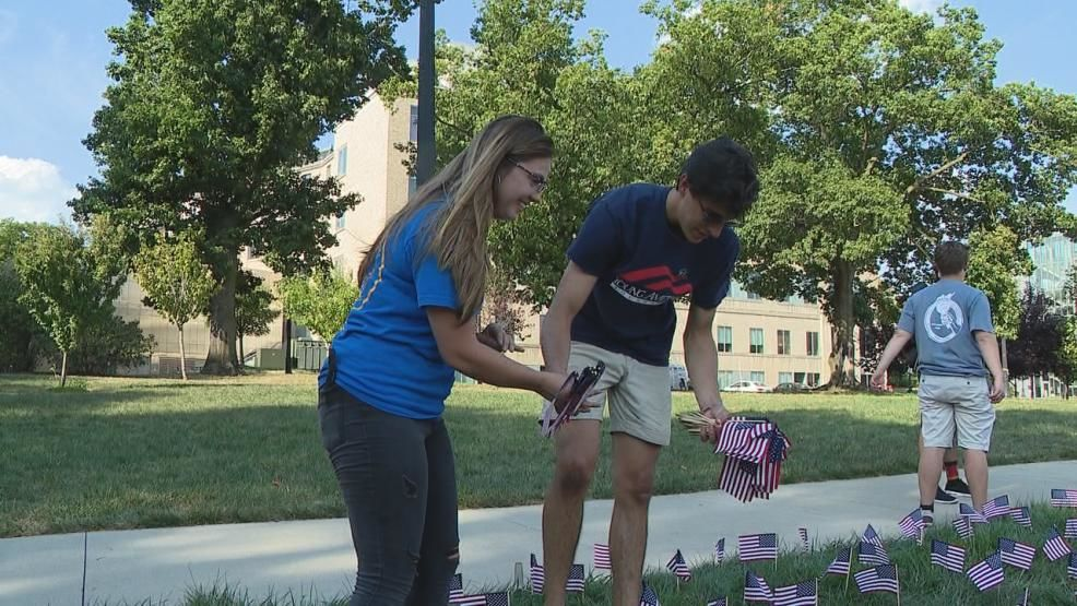 Students, including a junior who lost her mom in the World Trade Center attacks, planted flags on Ohio State's campus Wednesday Sept. 11, 2019 in honor of each of the victims. (WSYX/WTTE)<p></p>