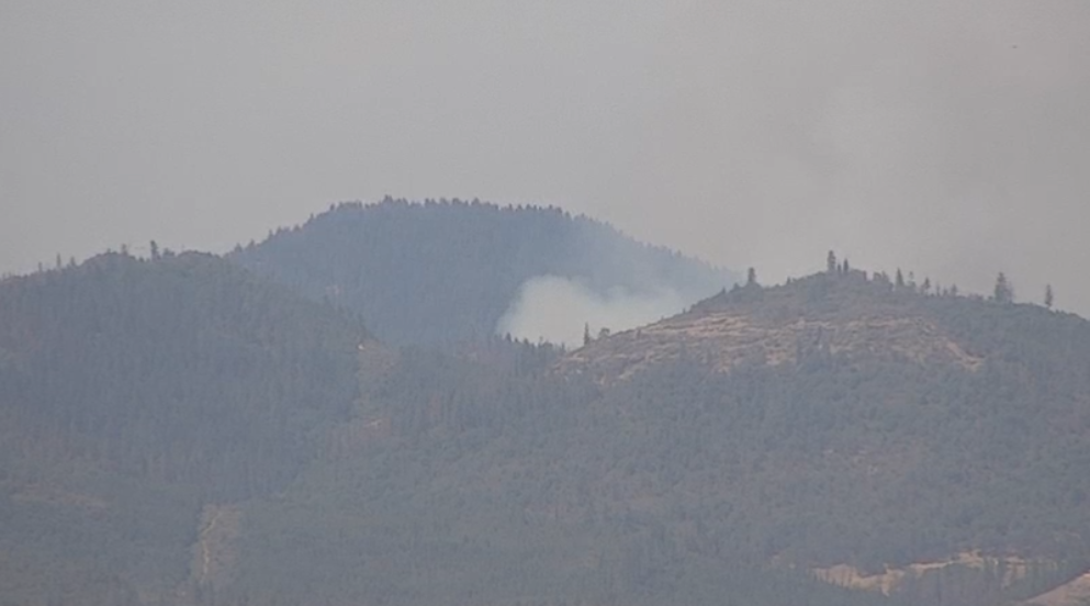 Pictured is a column of smoke that is visible from the News 10 SkyCams. (News 10)